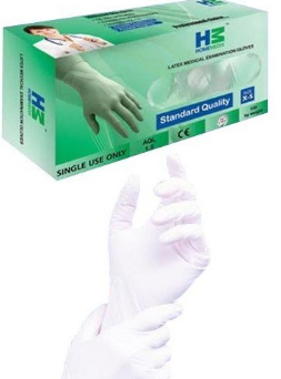 HOME MEDIX LATEX EXAMINATION GLOVES MEDIUM